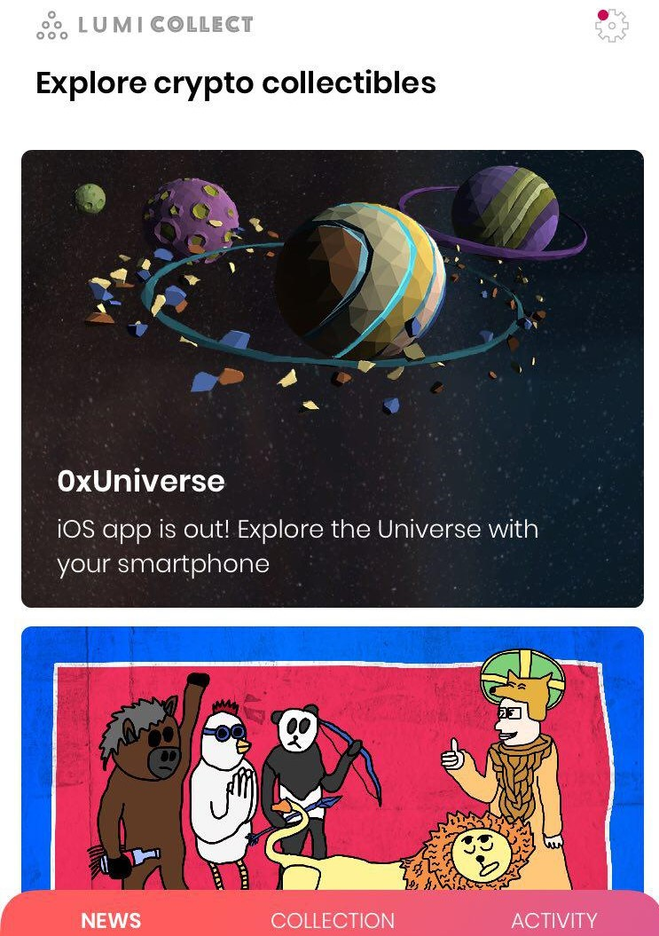 0xUniverse now suppors Lumi Collect wallet